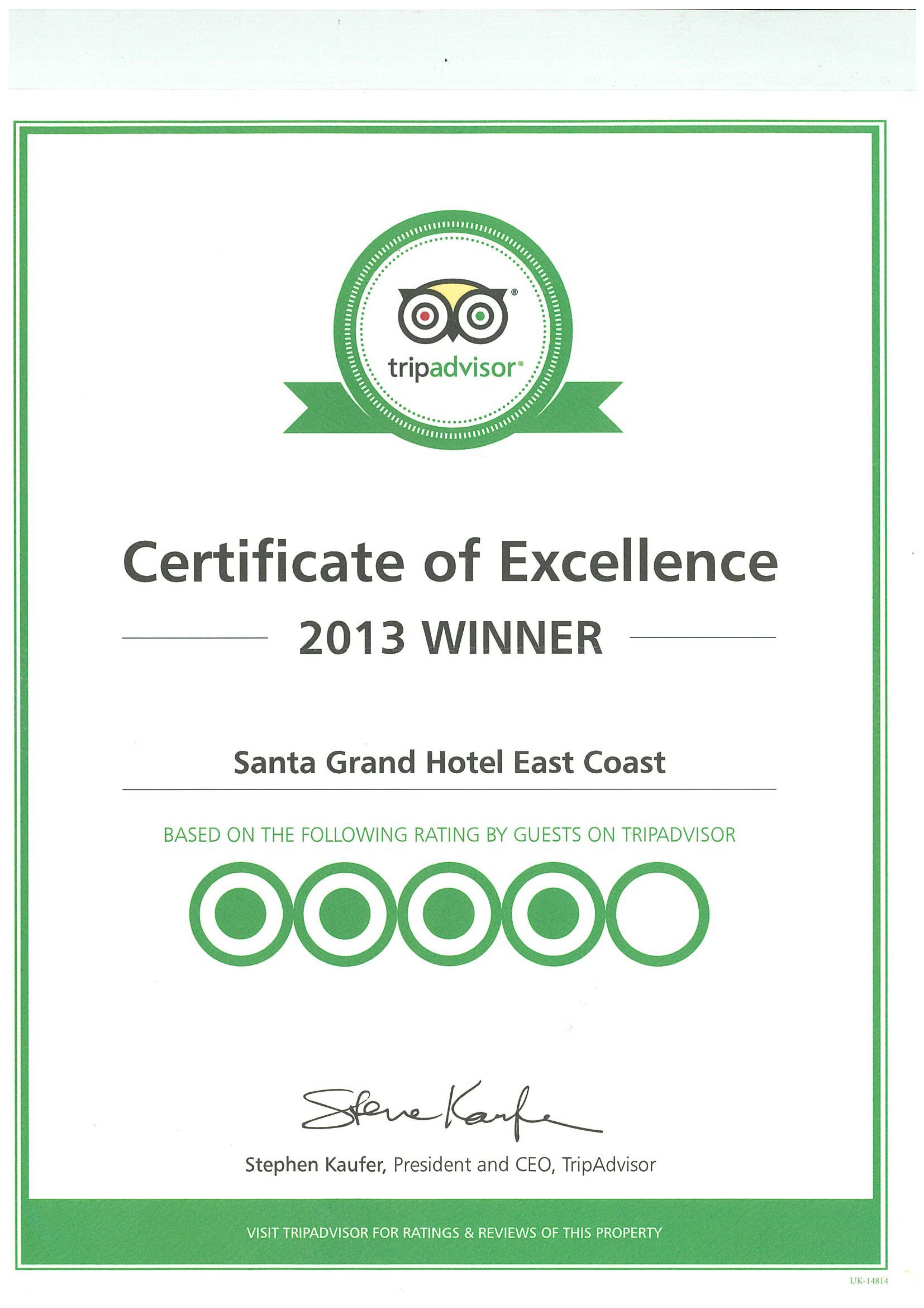 Santa Grand Hotel East Coast Trip Advisor Certificate 2013